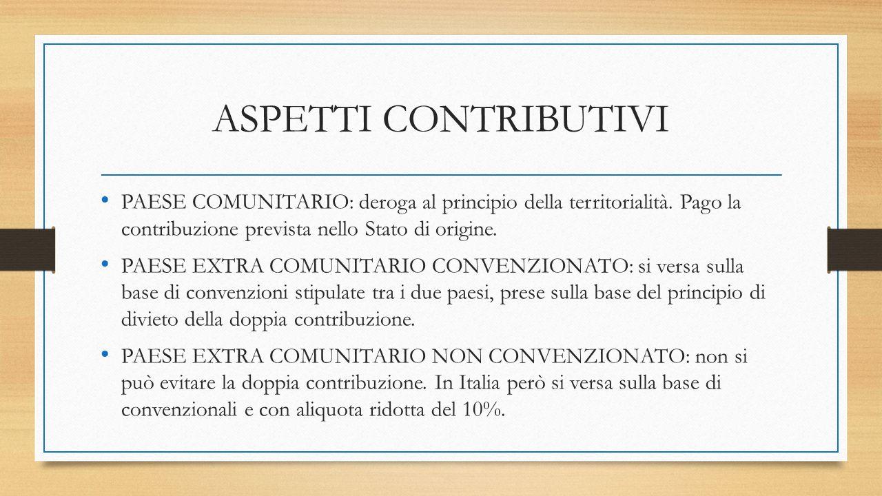 ASPETTI CONTRIBUTIVI PAESE COMUNITARIO: deroga al principio della territorialità. Pago la contribuzione prevista nello Stato di origine. PAESE EXTRA C