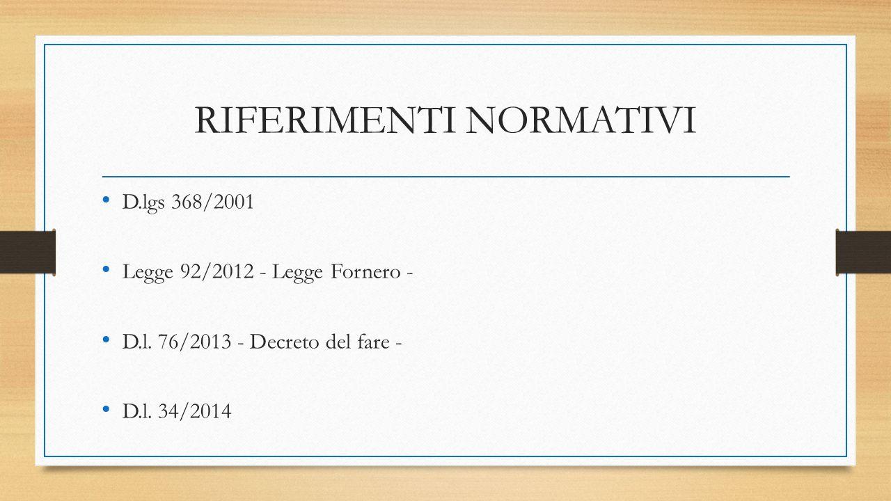 RIFERIMENTI NORMATIVI D.lgs 368/2001 Legge 92/2012 - Legge Fornero - D.l. 76/2013 - Decreto del fare - D.l. 34/2014
