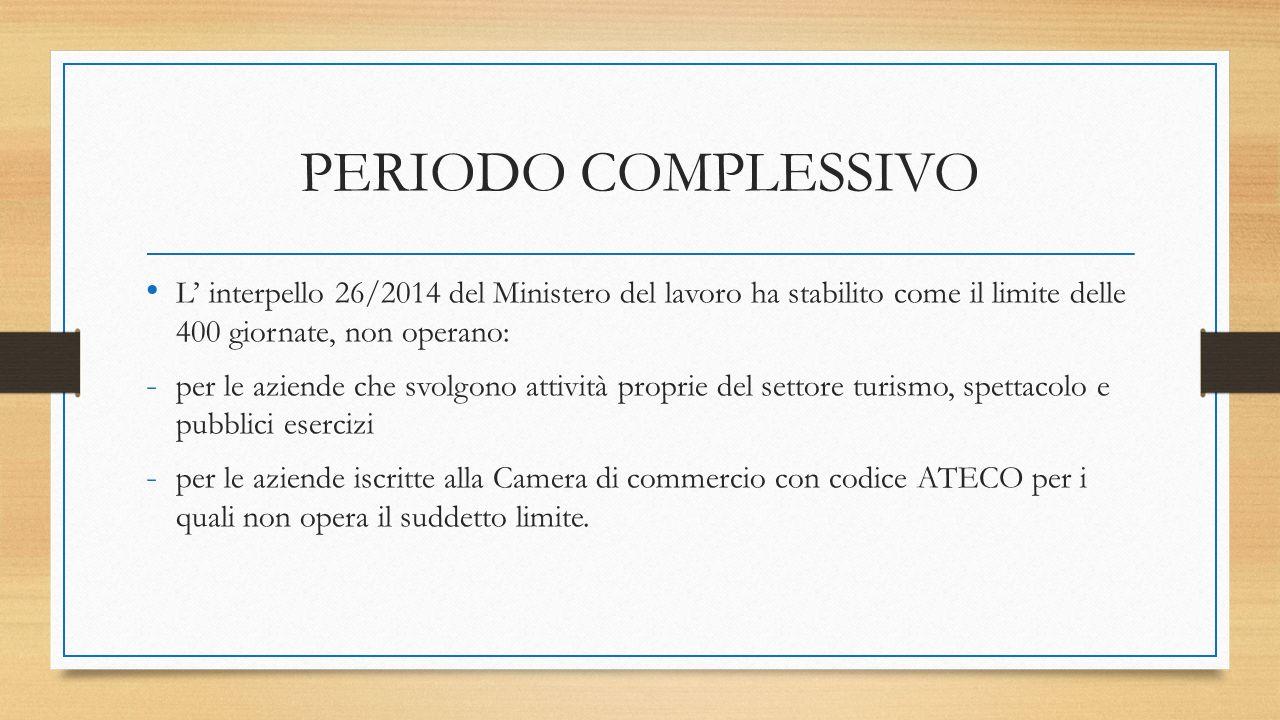PERIODO COMPLESSIVO L' interpello 26/2014 del Ministero del lavoro ha stabilito come il limite delle 400 giornate, non operano: - per le aziende che s