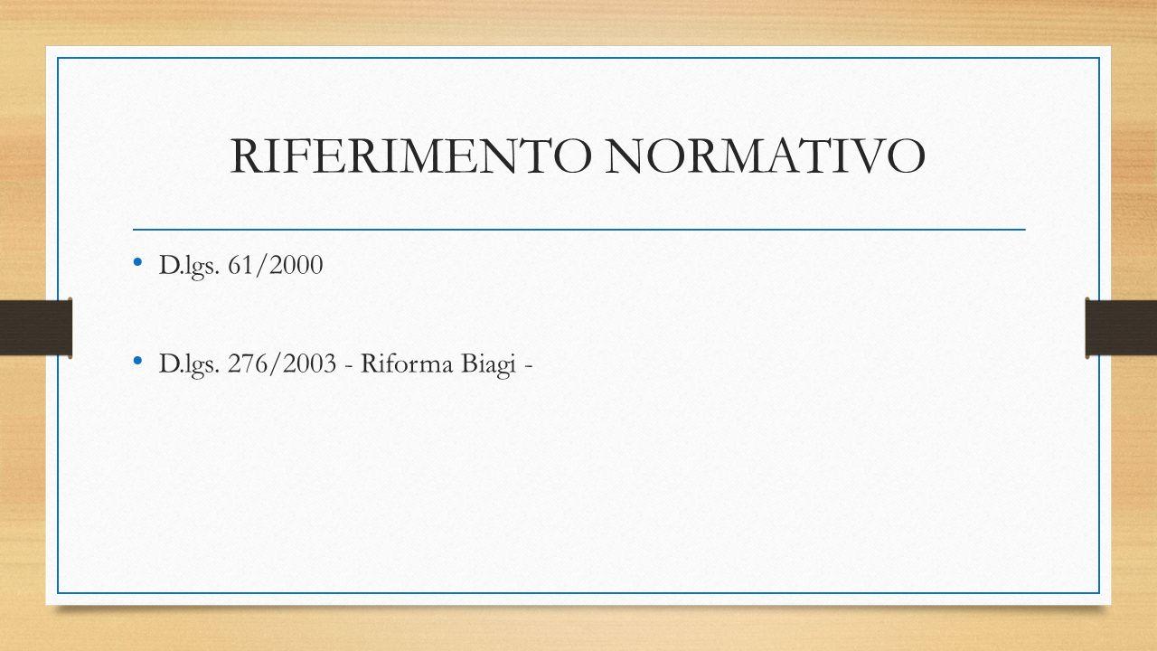 RIFERIMENTO NORMATIVO D.lgs. 61/2000 D.lgs. 276/2003 - Riforma Biagi -