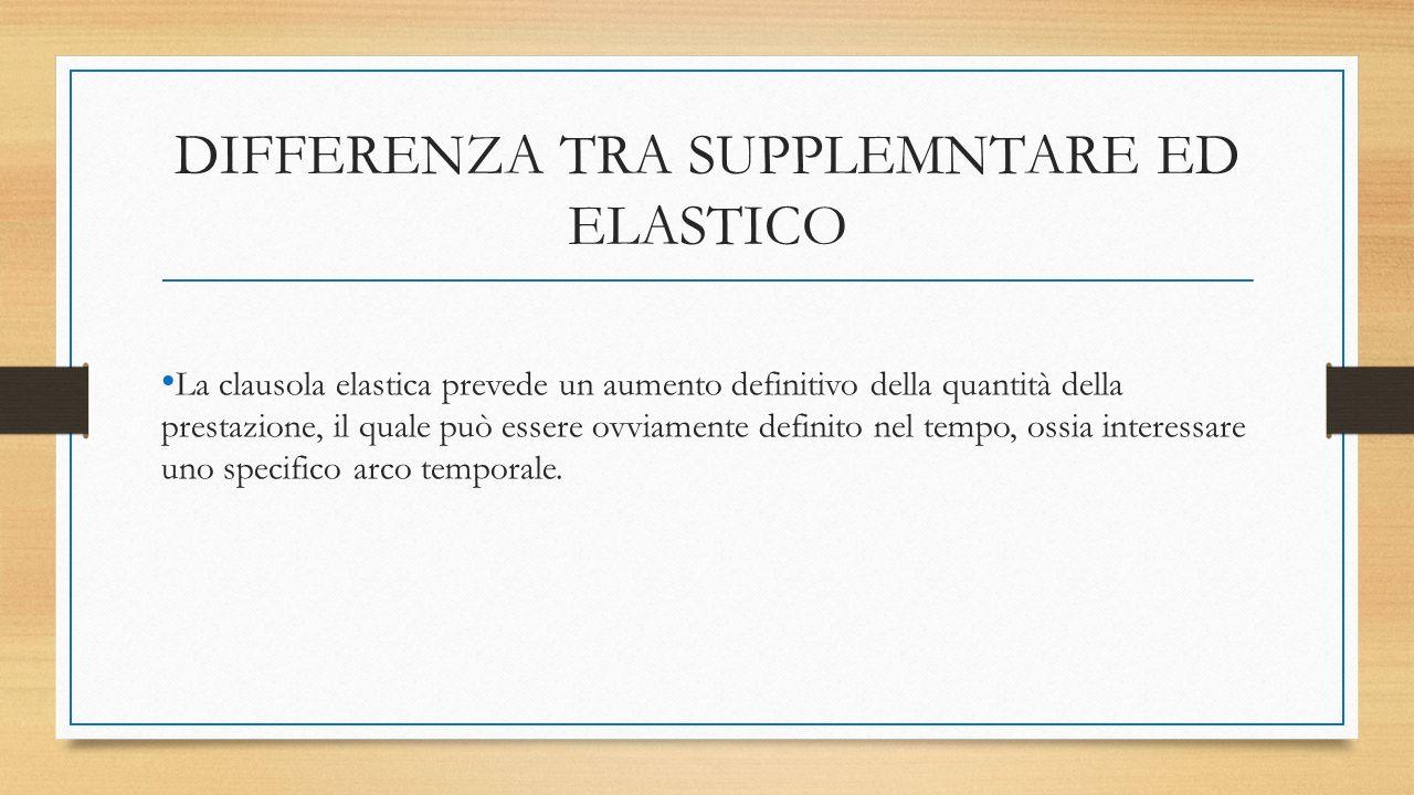 DIFFERENZA TRA SUPPLEMNTARE ED ELASTICO La clausola elastica prevede un aumento definitivo della quantità della prestazione, il quale può essere ovviamente definito nel tempo, ossia interessare uno specifico arco temporale.