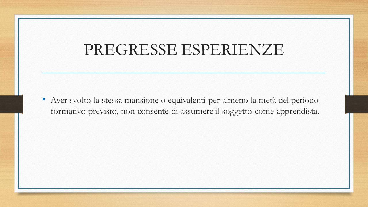 PREGRESSE ESPERIENZE Aver svolto la stessa mansione o equivalenti per almeno la metà del periodo formativo previsto, non consente di assumere il soggetto come apprendista.