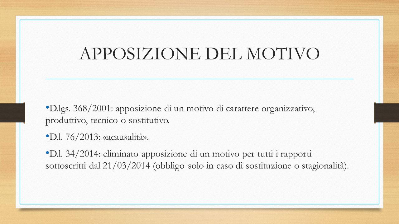 APPOSIZIONE DEL MOTIVO D.lgs. 368/2001: apposizione di un motivo di carattere organizzativo, produttivo, tecnico o sostitutivo. D.l. 76/2013: «acausal