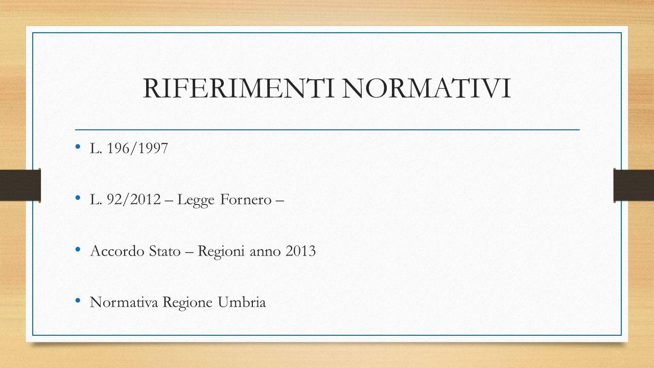 RIFERIMENTI NORMATIVI L. 196/1997 L. 92/2012 – Legge Fornero – Accordo Stato – Regioni anno 2013 Normativa Regione Umbria