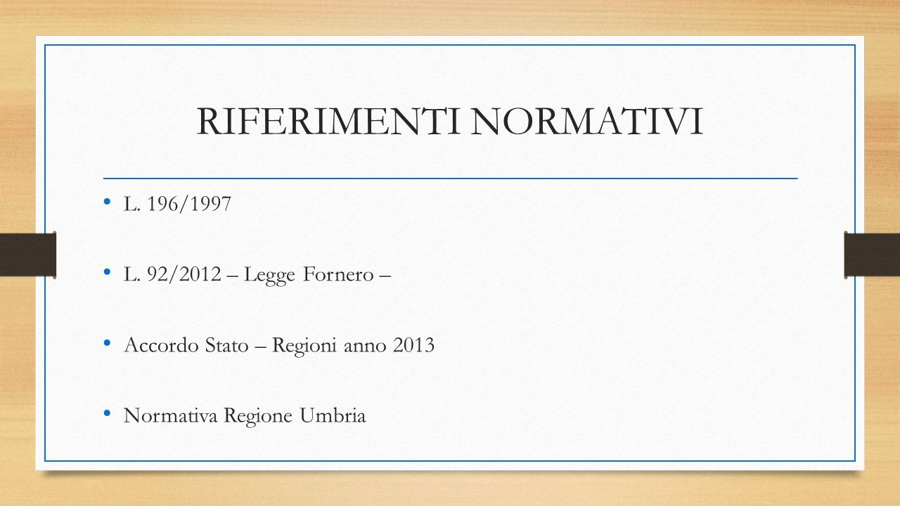 RIFERIMENTI NORMATIVI L.196/1997 L.