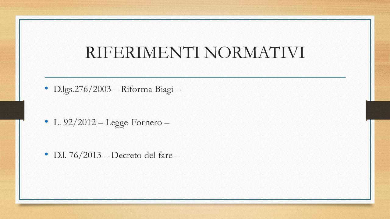 RIFERIMENTI NORMATIVI D.lgs.276/2003 – Riforma Biagi – L. 92/2012 – Legge Fornero – D.l. 76/2013 – Decreto del fare –