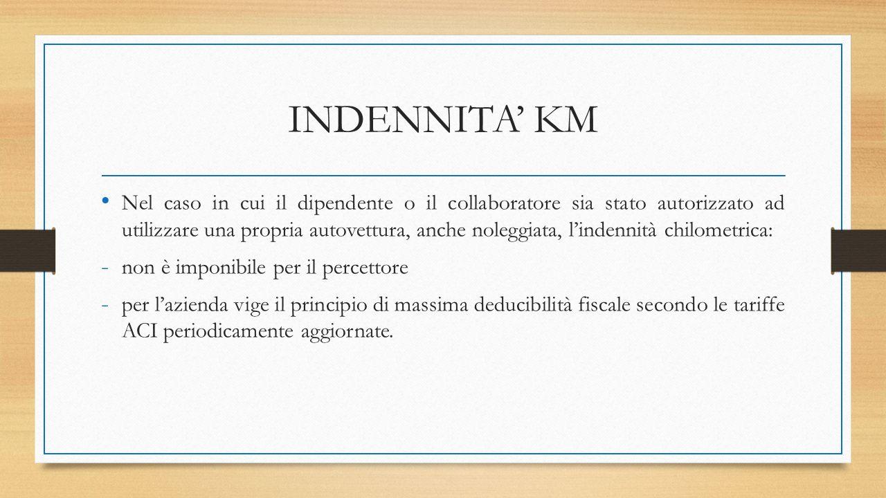 INDENNITA' KM Nel caso in cui il dipendente o il collaboratore sia stato autorizzato ad utilizzare una propria autovettura, anche noleggiata, l'indenn