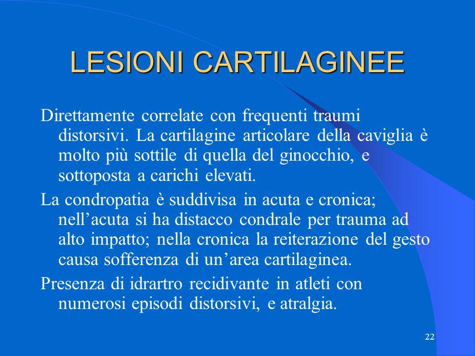 22 LESIONI CARTILAGINEE Direttamente correlate con frequenti traumi distorsivi.