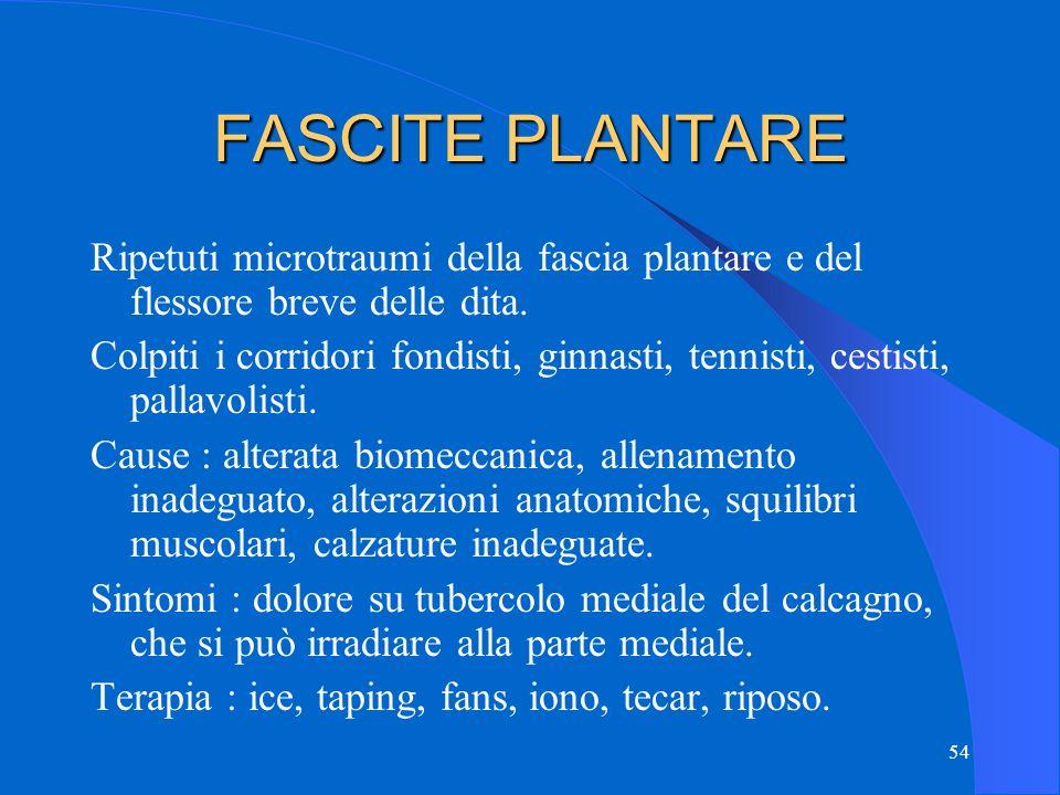 54 FASCITE PLANTARE Ripetuti microtraumi della fascia plantare e del flessore breve delle dita.