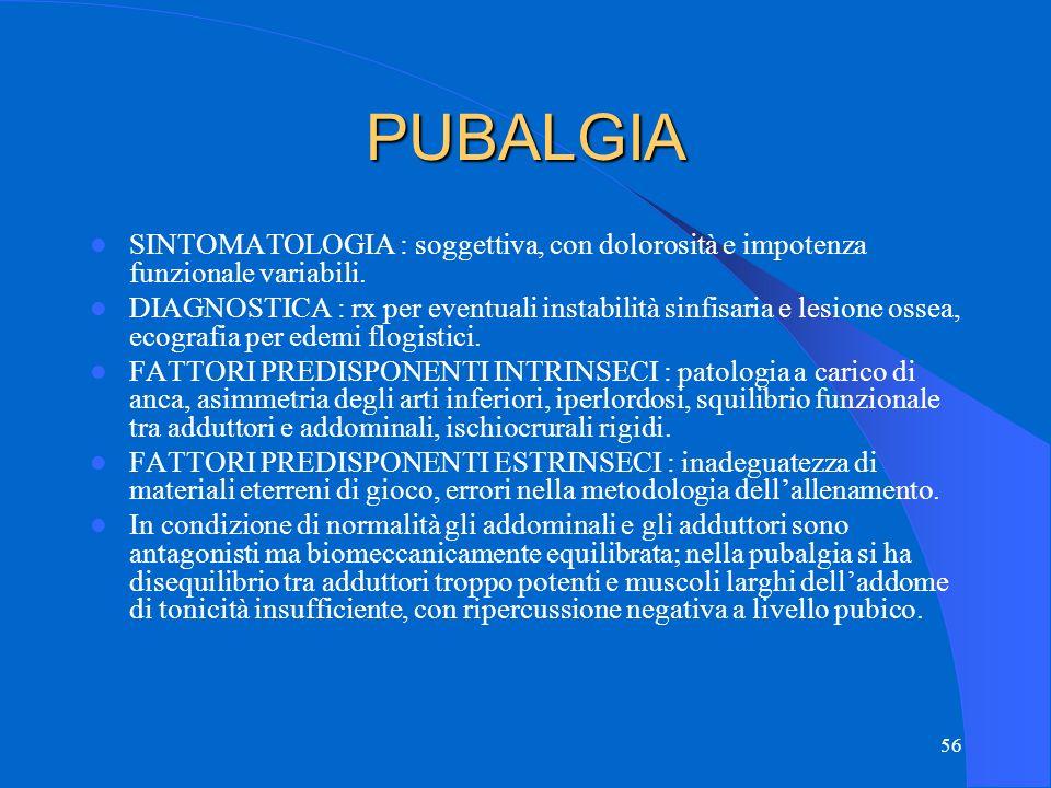 56 PUBALGIA SINTOMATOLOGIA : soggettiva, con dolorosità e impotenza funzionale variabili.