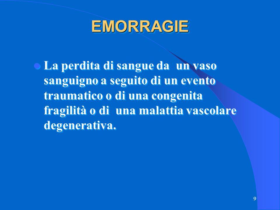 9 EMORRAGIEEMORRAGIE La perdita di sangue da un vaso sanguigno a seguito di un evento traumatico o di una congenita fragilità o di una malattia vascolare degenerativa.