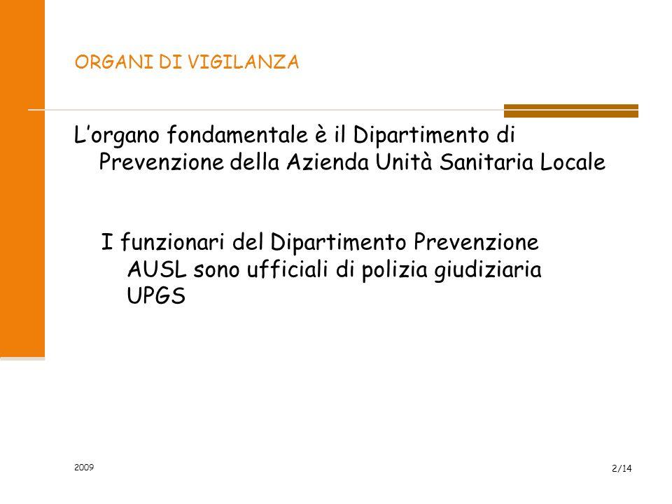 ORGANI DI VIGILANZA L'organo fondamentale è il Dipartimento di Prevenzione della Azienda Unità Sanitaria Locale 2/14 I funzionari del Dipartimento Prevenzione AUSL sono ufficiali di polizia giudiziaria UPGS 2009