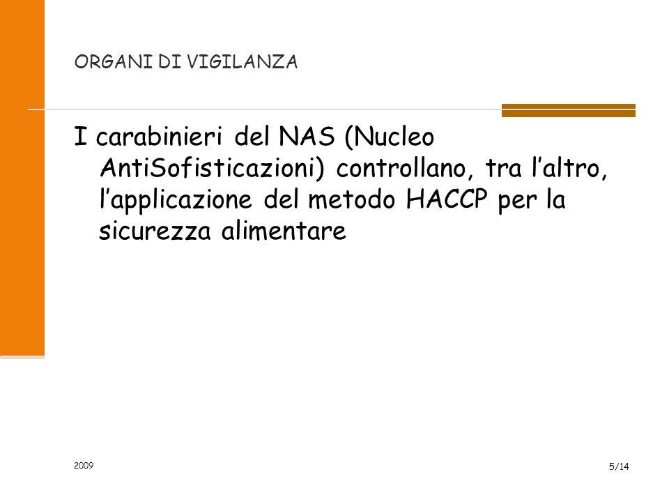 ORGANI DI VIGILANZA I carabinieri del NAS (Nucleo AntiSofisticazioni) controllano, tra l'altro, l'applicazione del metodo HACCP per la sicurezza alimentare 5/14 2009