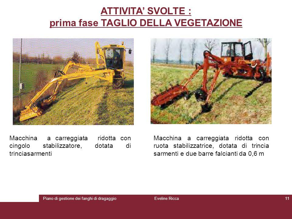 Piano di gestione dei fanghi di dragaggioEveline Ricca11 ATTIVITA' SVOLTE : prima fase TAGLIO DELLA VEGETAZIONE Macchina a carreggiata ridotta con cin