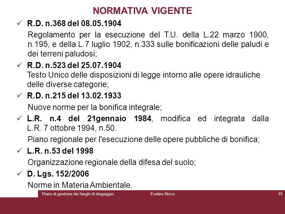 Piano di gestione dei fanghi di dragaggioEveline Ricca15 NORMATIVA VIGENTE R.D. n.368 del 08.05.1904 Regolamento per la esecuzione del T.U. della L.22