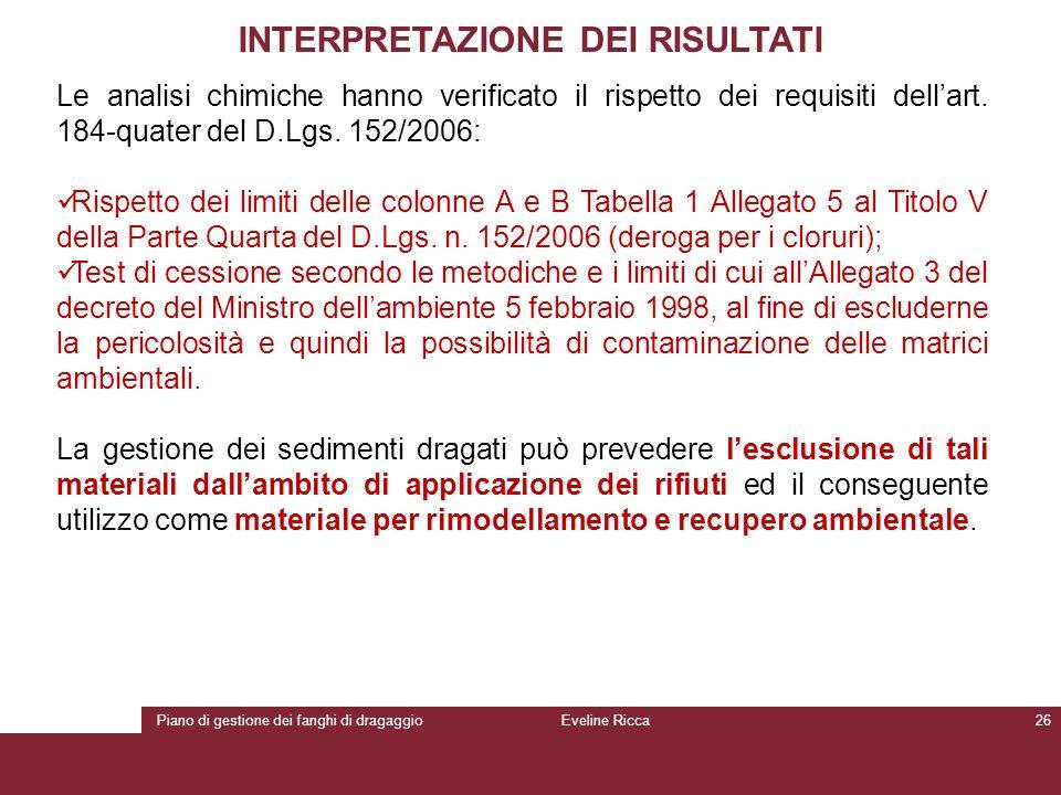 Piano di gestione dei fanghi di dragaggioEveline Ricca26 INTERPRETAZIONE DEI RISULTATI Le analisi chimiche hanno verificato il rispetto dei requisiti
