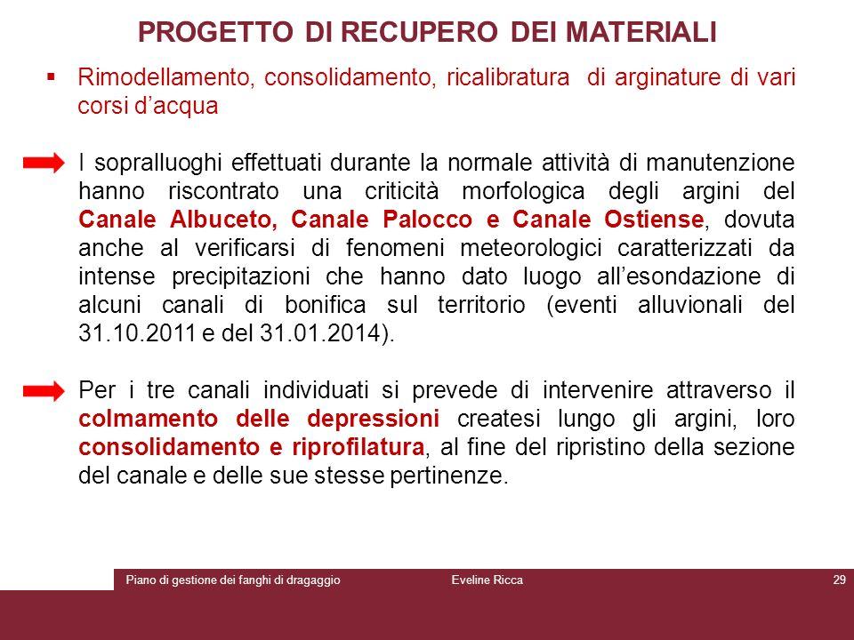 Piano di gestione dei fanghi di dragaggioEveline Ricca29 PROGETTO DI RECUPERO DEI MATERIALI  Rimodellamento, consolidamento, ricalibratura di arginat