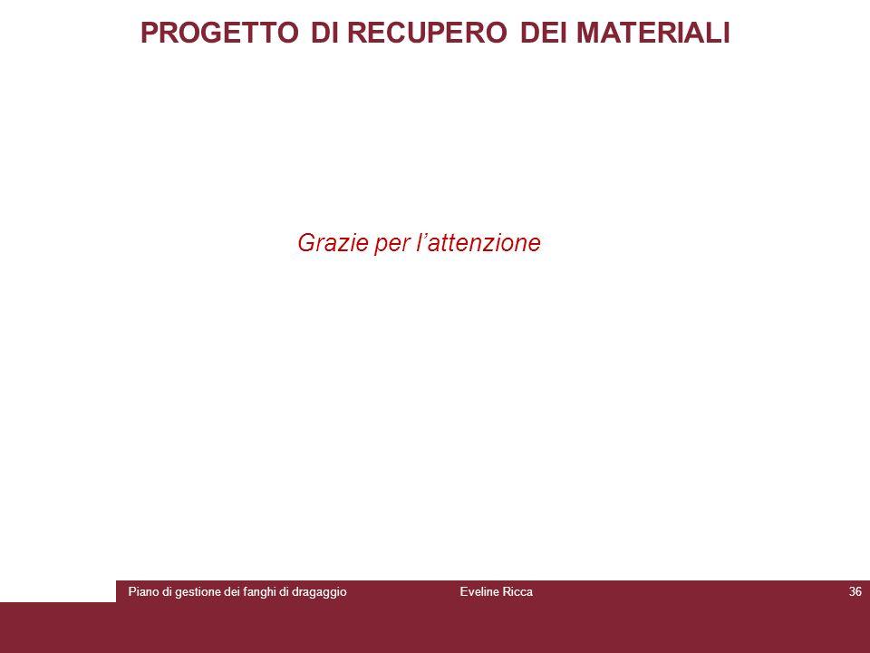 Piano di gestione dei fanghi di dragaggioEveline Ricca36 PROGETTO DI RECUPERO DEI MATERIALI Grazie per l'attenzione