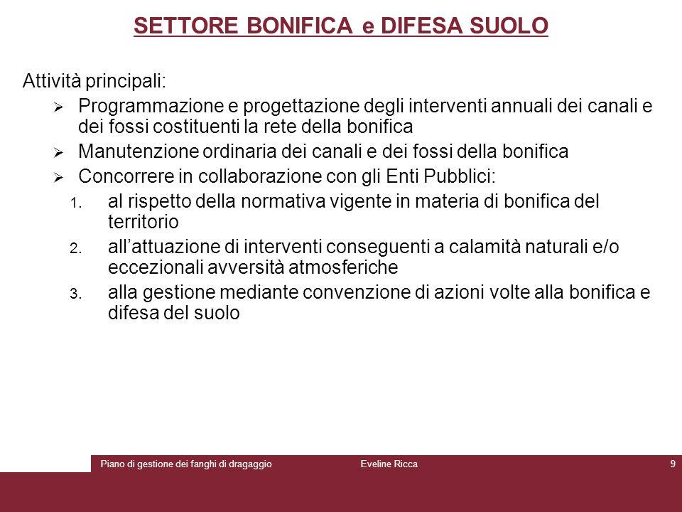 Piano di gestione dei fanghi di dragaggioEveline Ricca9 SETTORE BONIFICA e DIFESA SUOLO Attività principali:  Programmazione e progettazione degli in