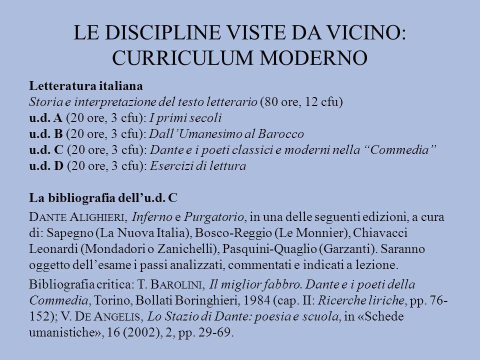 LE DISCIPLINE VISTE DA VICINO: CURRICULUM MODERNO Letteratura italiana Storia e interpretazione del testo letterario (80 ore, 12 cfu) u.d. A (20 ore,