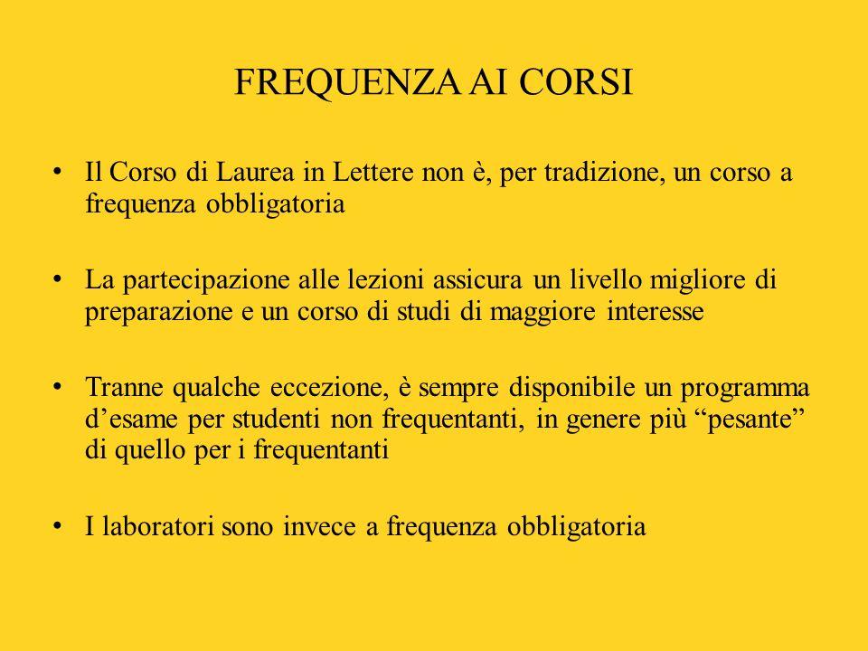 FREQUENZA AI CORSI Il Corso di Laurea in Lettere non è, per tradizione, un corso a frequenza obbligatoria La partecipazione alle lezioni assicura un l