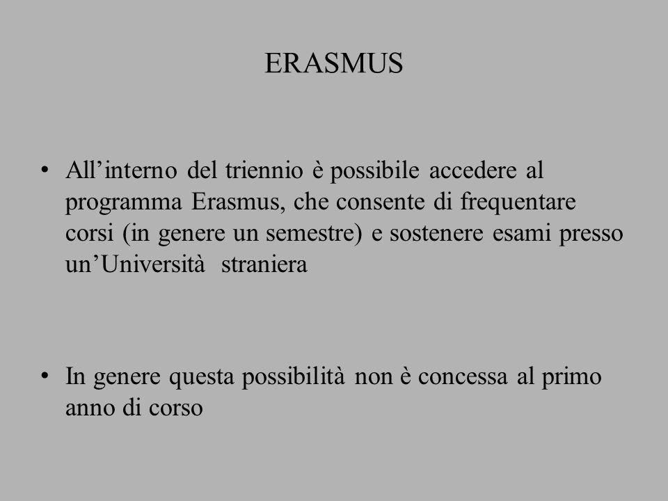 ERASMUS All'interno del triennio è possibile accedere al programma Erasmus, che consente di frequentare corsi (in genere un semestre) e sostenere esami presso un'Università straniera In genere questa possibilità non è concessa al primo anno di corso