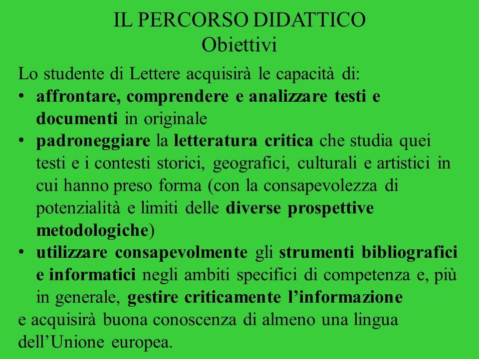 IL PERCORSO DIDATTICO Obiettivi Lo studente di Lettere acquisirà le capacità di: affrontare, comprendere e analizzare testi e documenti in originale p