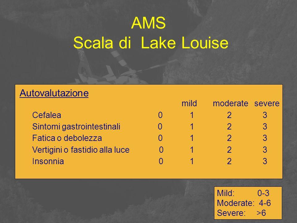 AMS Scala di Lake Louise Autovalutazione mildmoderatesevere Cefalea 0123 Sintomi gastrointestinali 0123 Fatica o debolezza 0123 Vertigini o fastidio a