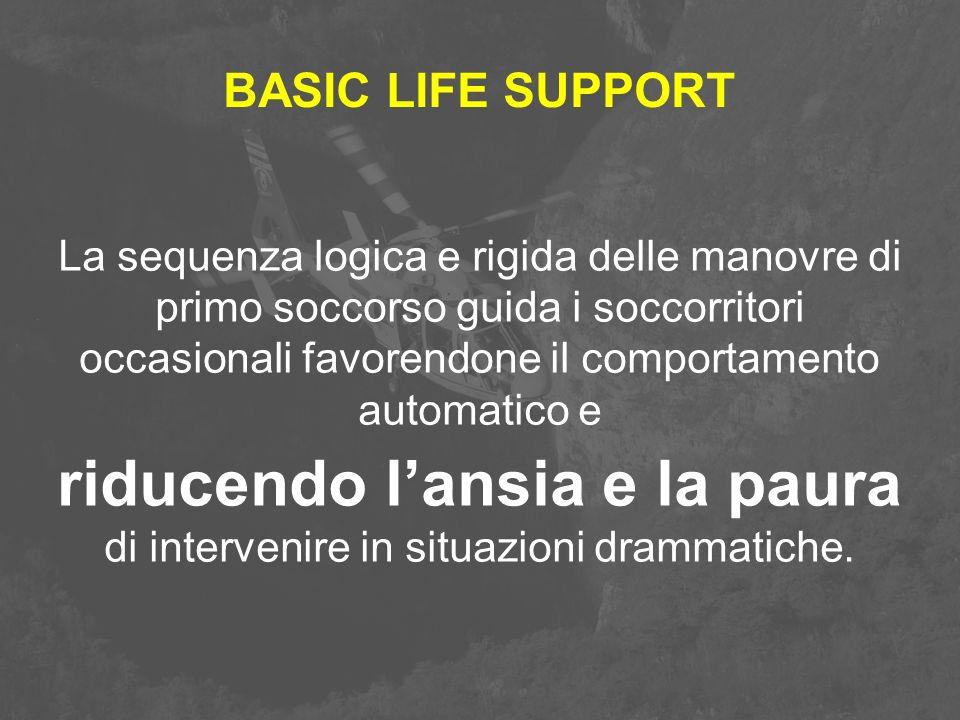 BASIC LIFE SUPPORT La sequenza logica e rigida delle manovre di primo soccorso guida i soccorritori occasionali favorendone il comportamento automatic