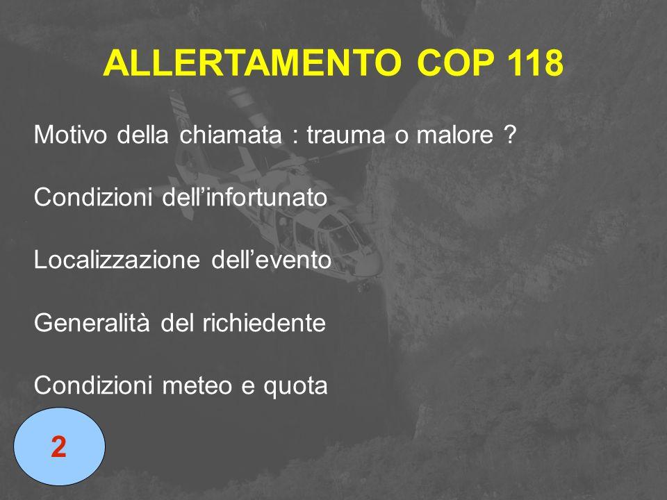 ALLERTAMENTO COP 118 Motivo della chiamata : trauma o malore ? Condizioni dell'infortunato Localizzazione dell'evento Generalità del richiedente Condi