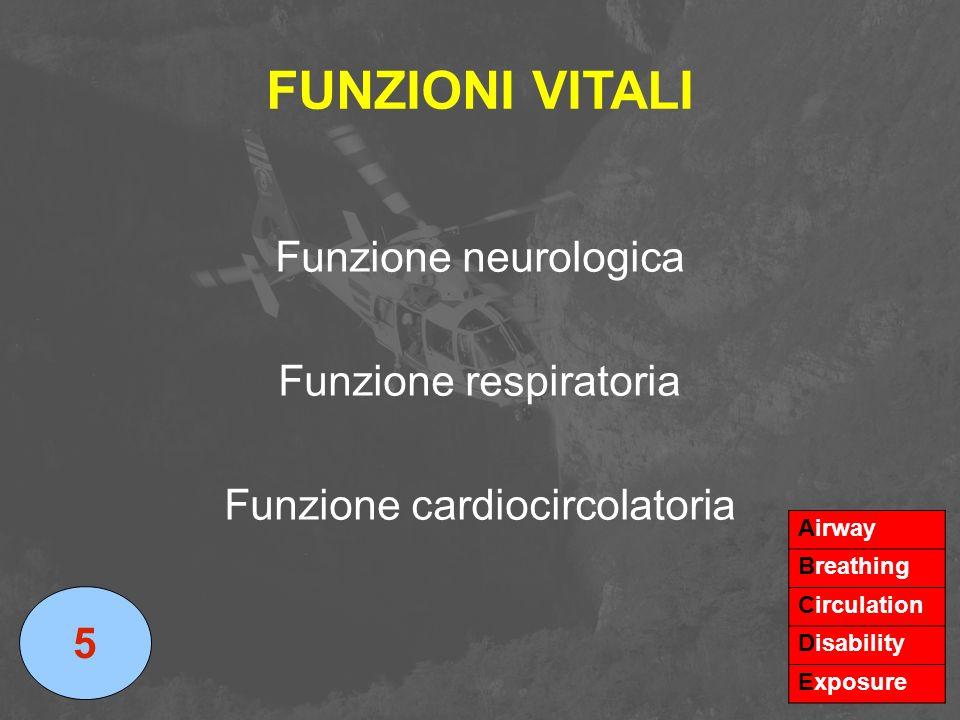 FUNZIONI VITALI Funzione neurologica Funzione respiratoria Funzione cardiocircolatoria 5 Airway Breathing Circulation Disability Exposure