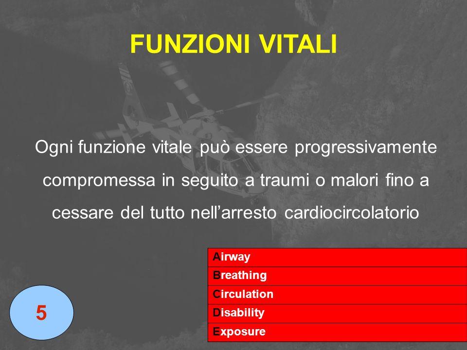 FUNZIONI VITALI Ogni funzione vitale può essere progressivamente compromessa in seguito a traumi o malori fino a cessare del tutto nell'arresto cardio