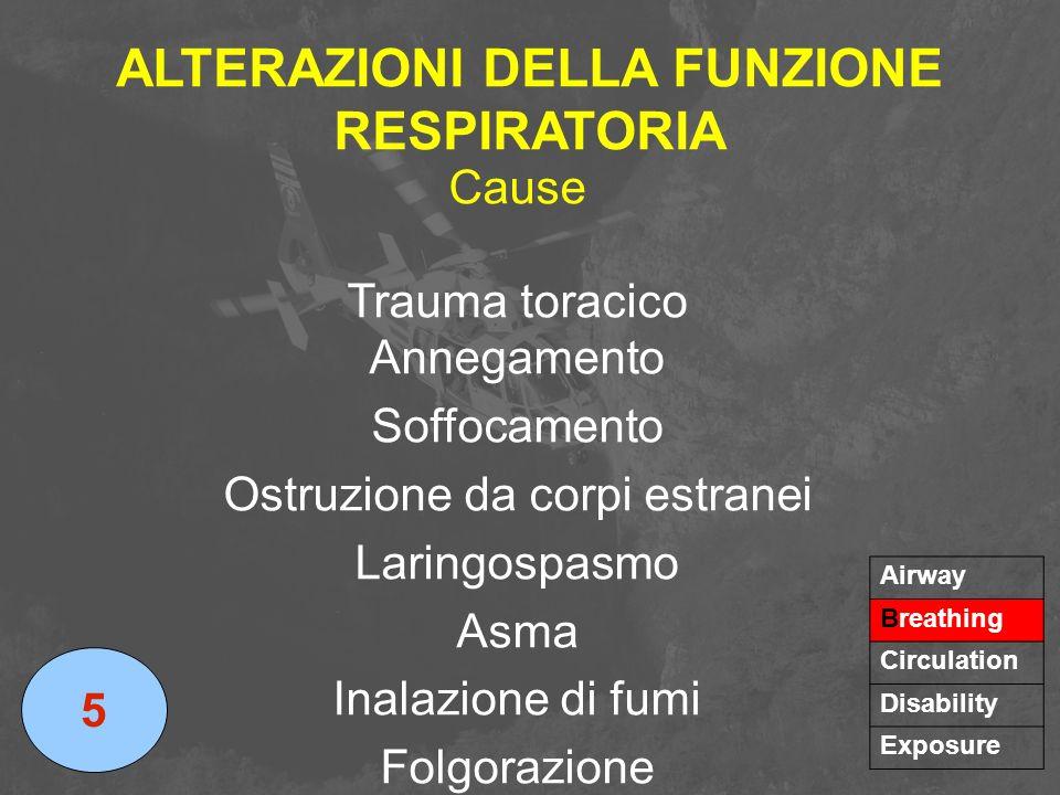 ALTERAZIONI DELLA FUNZIONE RESPIRATORIA 5 Airway Breathing Circulation Disability Exposure Cause Trauma toracico Annegamento Soffocamento Ostruzione d