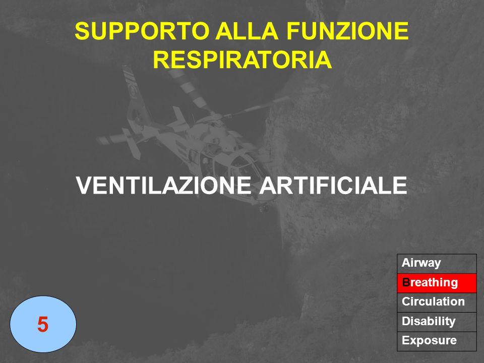 SUPPORTO ALLA FUNZIONE RESPIRATORIA VENTILAZIONE ARTIFICIALE 5 Airway Breathing Circulation Disability Exposure