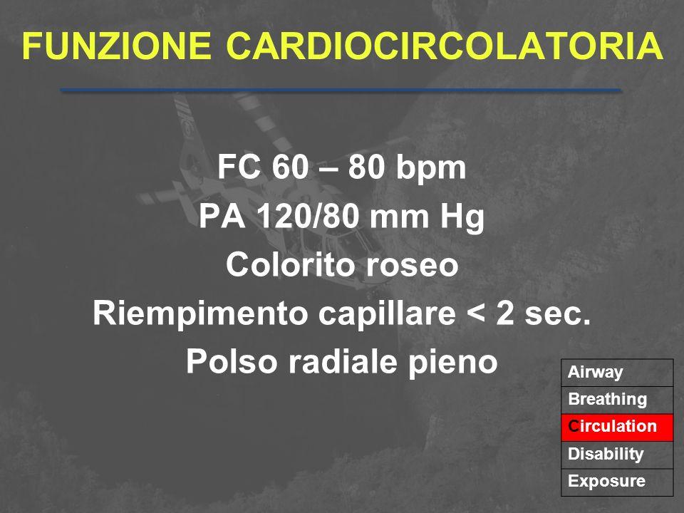 FUNZIONE CARDIOCIRCOLATORIA FC 60 – 80 bpm PA 120/80 mm Hg Colorito roseo Riempimento capillare < 2 sec. Polso radiale pieno Airway Breathing Circulat
