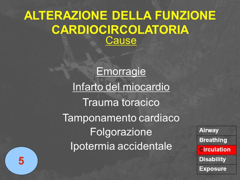 ALTERAZIONE DELLA FUNZIONE CARDIOCIRCOLATORIA Cause Emorragie Infarto del miocardio Trauma toracico Tamponamento cardiaco Folgorazione Ipotermia accid
