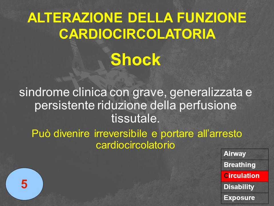 ALTERAZIONE DELLA FUNZIONE CARDIOCIRCOLATORIA Shock sindrome clinica con grave, generalizzata e persistente riduzione della perfusione tissutale. Può