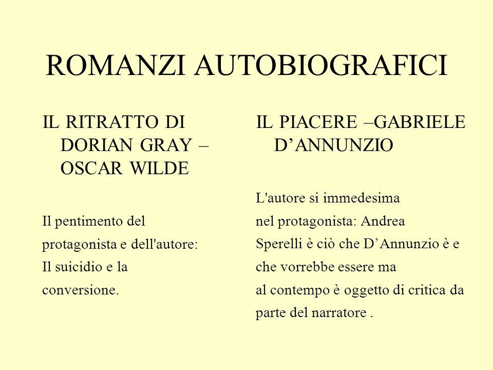 ROMANZI AUTOBIOGRAFICI IL RITRATTO DI DORIAN GRAY – OSCAR WILDE Il pentimento del protagonista e dell autore: Il suicidio e la conversione.