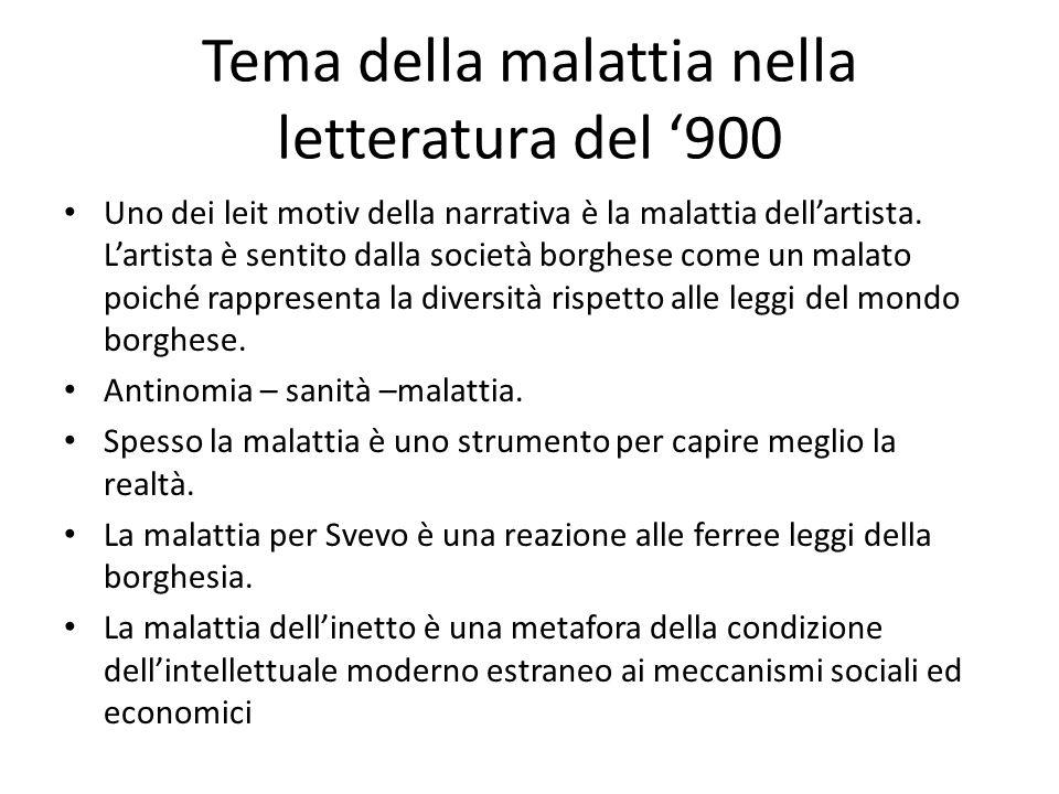 Tema della malattia nella letteratura del '900 Uno dei leit motiv della narrativa è la malattia dell'artista. L'artista è sentito dalla società borghe