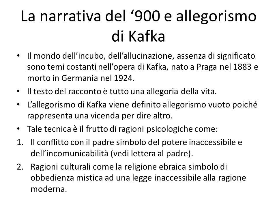 La narrativa del '900 e allegorismo di Kafka Il mondo dell'incubo, dell'allucinazione, assenza di significato sono temi costanti nell'opera di Kafka,