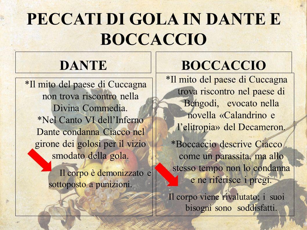PECCATI DI GOLA IN DANTE E BOCCACCIO DANTE *Il mito del paese di Cuccagna non trova riscontro nella Divina Commedia. *Nel Canto VI dell'Inferno Dante