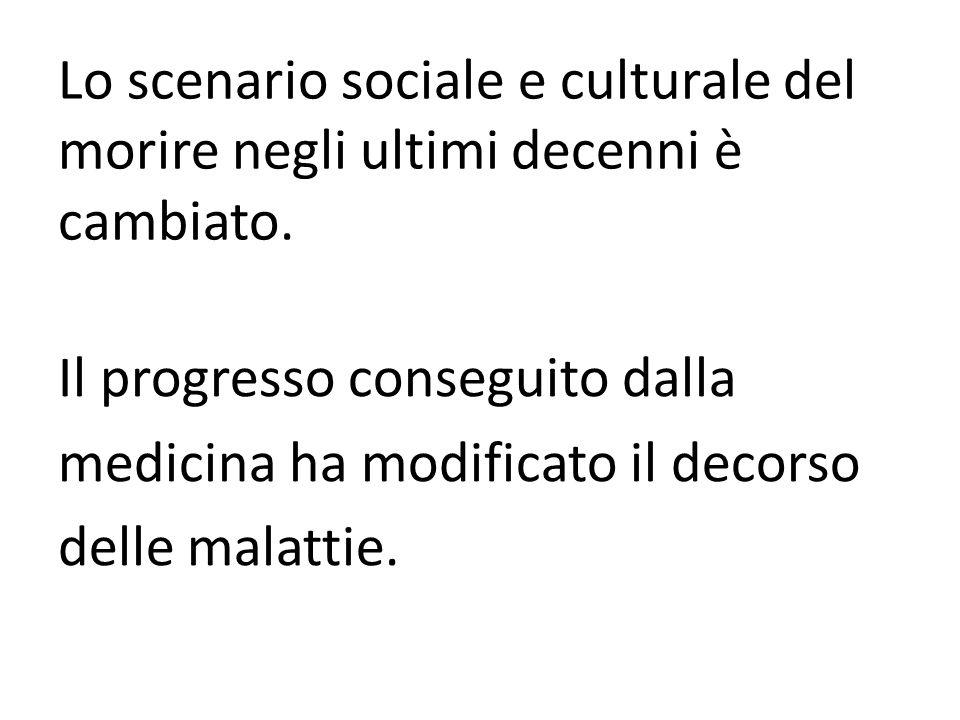 Lo scenario sociale e culturale del morire negli ultimi decenni è cambiato. Il progresso conseguito dalla medicina ha modificato il decorso delle mala