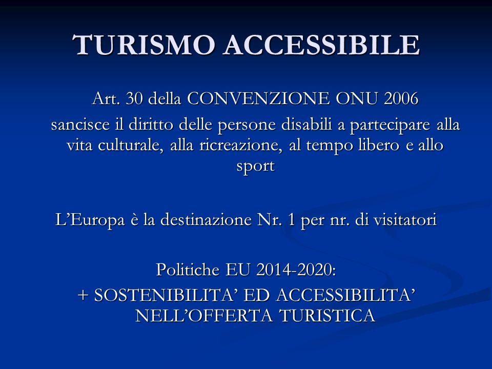 Turismo accessibile A livello mondiale si stimano 650 milioni di persone disabili (disabilità temporanea o permanente) In Europa sono circa 100 milioni le persone disabili, 1/3 circa con disabilità visiva In Italia: 6 milioni di persone disabili = 13% della popolazione