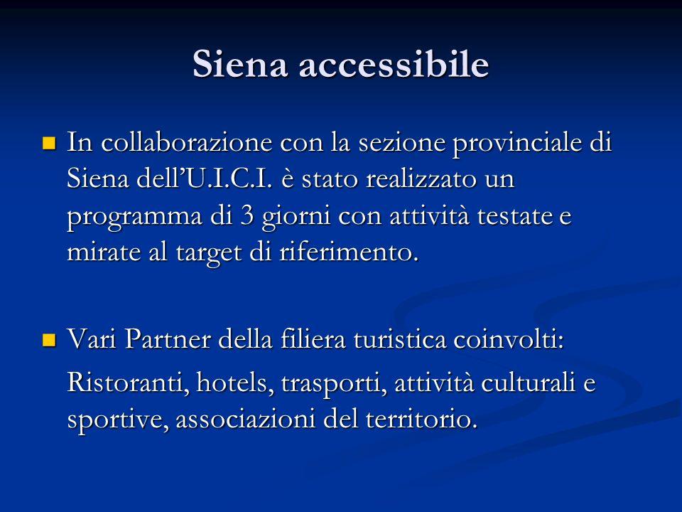 Siena accessibile Obbiettivo del progetto: Obbiettivo del progetto: migliorare l'accessibilità della destinazione (residenti e turisti), sensibilizzare le istituzioni e le imprese al tema del turismo accessibile come OPPORTUNITA': migliorare l'accessibilità della destinazione (residenti e turisti), sensibilizzare le istituzioni e le imprese al tema del turismo accessibile come OPPORTUNITA': Una migliore accessibilità significa una società più inclusiva e una crescita economica per le imprese.