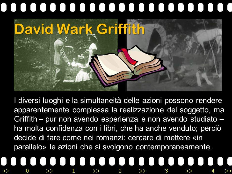 >>0 >>1 >> 2 >> 3 >> 4 >> David Wark Griffith I diversi luoghi e la simultaneità delle azioni possono rendere apparentemente complessa la realizzazion