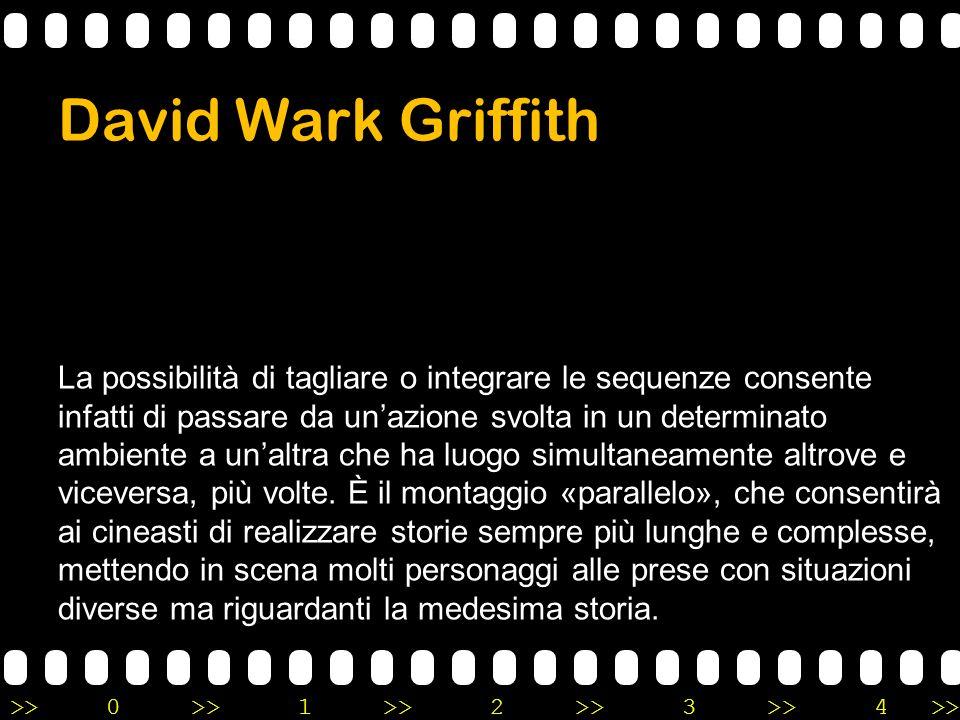 >>0 >>1 >> 2 >> 3 >> 4 >> David Wark Griffith La possibilità di tagliare o integrare le sequenze consente infatti di passare da un'azione svolta in un