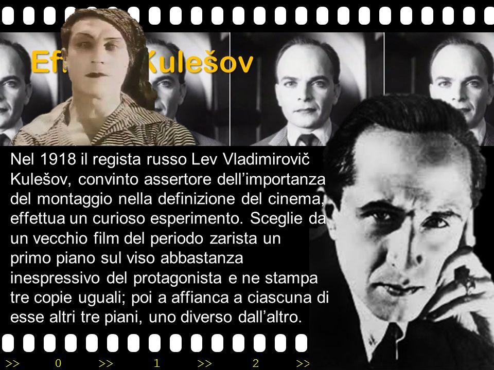 >>0 >>1 >> 2 >> 3 >> 4 >> Effetto Kulešov Nel 1918 il regista russo Lev Vladimirovič Kulešov, convinto assertore dell'importanza del montaggio nella d