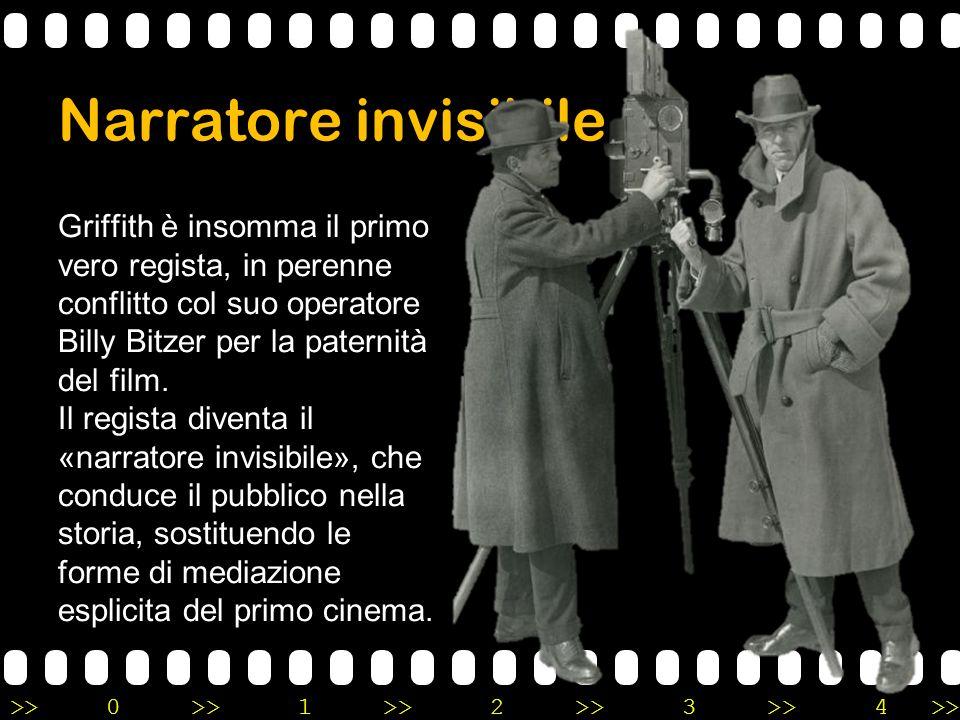 >>0 >>1 >> 2 >> 3 >> 4 >> Narratore invisibile Griffith è insomma il primo vero regista, in perenne conflitto col suo operatore Billy Bitzer per la pa