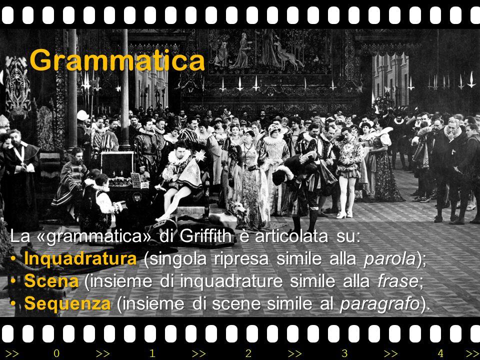 >>0 >>1 >> 2 >> 3 >> 4 >> Grammatica La «grammatica» di Griffith è articolata su: Inquadratura (singola ripresa simile alla parola);Inquadratura (sing