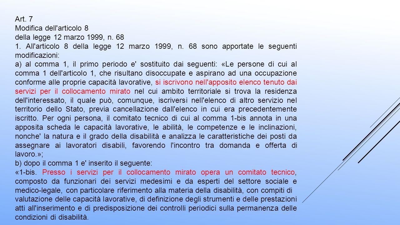 Art. 7 Modifica dell'articolo 8 della legge 12 marzo 1999, n. 68 1. All'articolo 8 della legge 12 marzo 1999, n. 68 sono apportate le seguenti modific